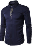 Pizoff Mens Long Sleeve Extra Long Design Dress Navy Shirt B403