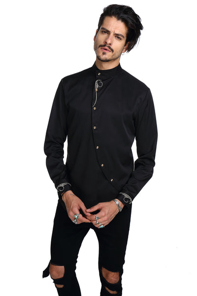 PIZOFF Mens Long Sleeve Extra Long Design Dress Black Shirt B404