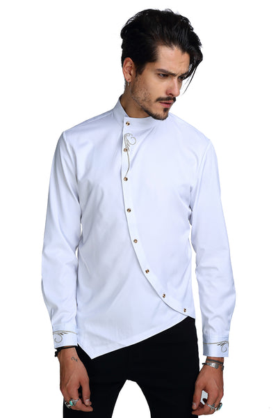 PIZOFF Mens Long Sleeve Extra Long Design Dress White Shirt B404