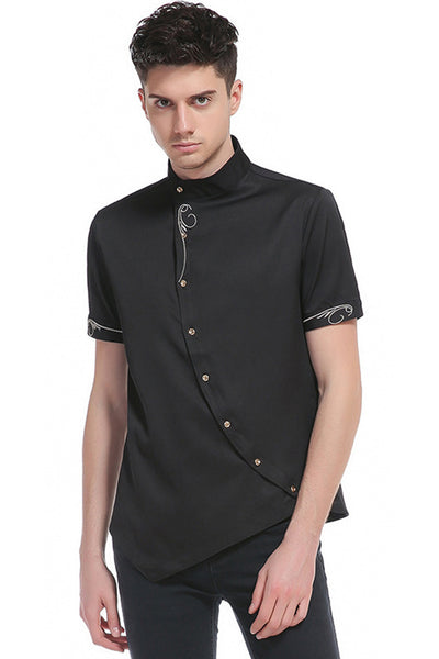 Pizoff Mens Short Sleeve Extra Long Design Dress Black Shirt B508