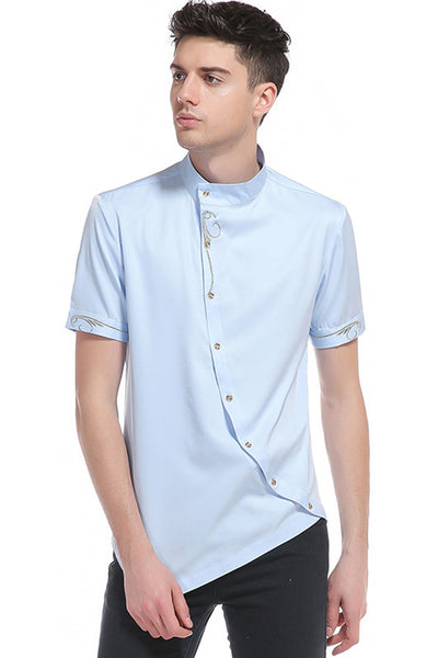 Pizoff Mens Short Sleeve Extra Long Design Dress Blue Shirt B508