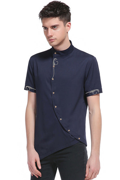 Pizoff Mens Short Sleeve Extra Long Design Dress Navy Shirt B508