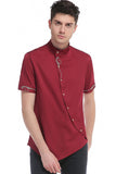 Pizoff Mens Short Sleeve Extra Long Design Dress Red Shirt B508