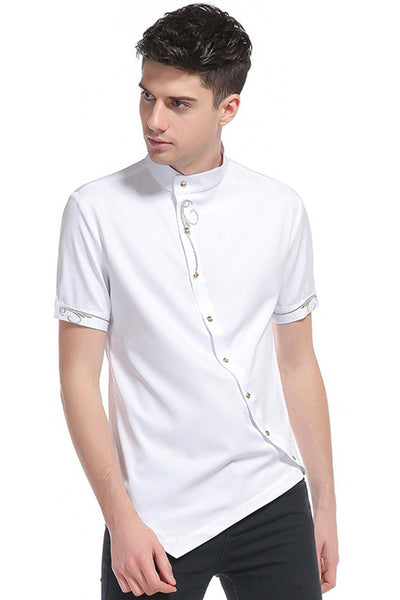 Pizoff Mens Short Sleeve Extra Long Design Dress White Shirt B508