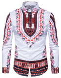 Pizoff Mens Casual Dress Shirts African Dashiki Floral Pattern Print B699