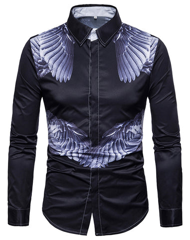 Pizoff Mens Long Sleeve Luxury Print Dress Shirt B702-28