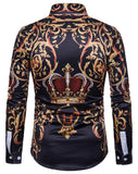 Pizoff Mens Long Sleeve Luxury Print Dress Shirt B702-29