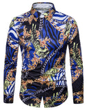 Pizoff Mens Long Sleeve Luxury Print Dress Shirt B702-30