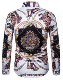 Pizoff Mens Long Sleeve Luxury Print Dress Shirt B702-33