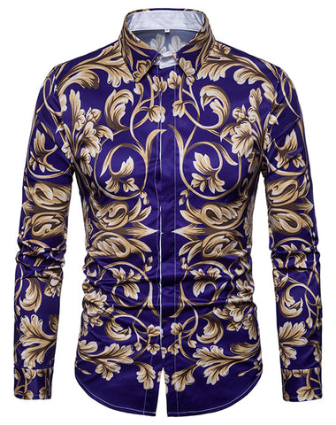 Pizoff Mens Long Sleeve Luxury Print Dress Shirt B702-34