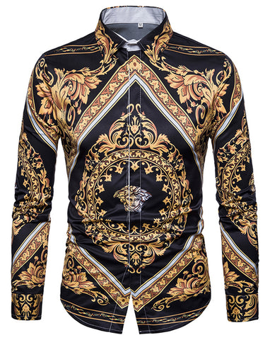 Pizoff Mens Long Sleeve Luxury Print Dress Shirt B702-35