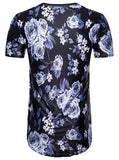 Pizoff Mens Hipster Hip Hop White Roses Crewneck Long T-Shirt BA0003-Purple