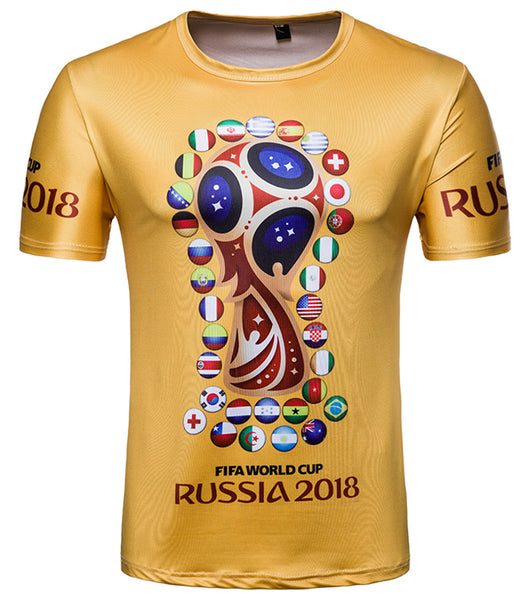 Pizoff 2018 FIFA World Cup Hipster 3D Print Originality T-Shirt BA0043-17 RUSSIA