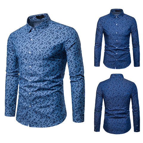 Pizoff Mens Hipster Hip Hop Luxury Print Long Sleeve Shirt BA0069