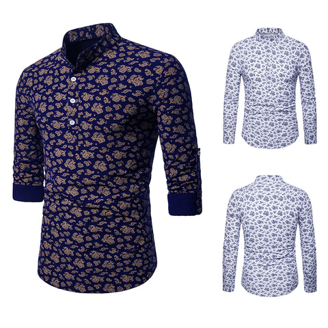 Pizoff Mens Hipster Hip Hop Luxury Print Long Sleeve Shirt BA0071