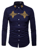 Pizoff Mens Hipster Hip Hop Luxury Print Long Sleeve Shirt BA0073