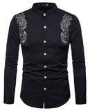 Pizoff Mens Hipster Hip Hop Luxury Print Long Sleeve Shirt BA0074