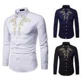 Pizoff Mens Hipster Hip Hop Luxury Print Long Sleeve Shirt BA0075
