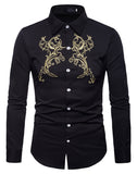 Pizoff Mens Hipster Hip Hop Luxury Print Long Sleeve Shirt BA0076