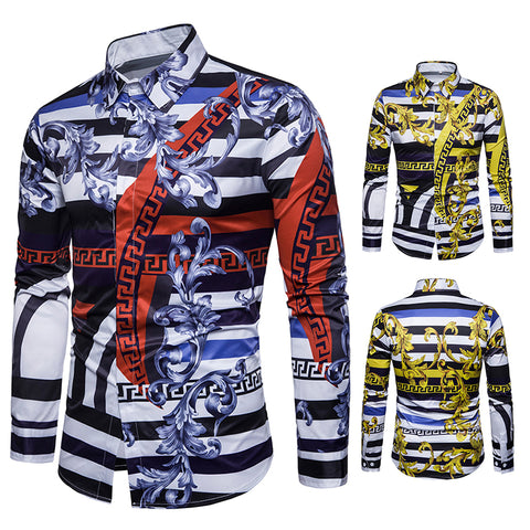 Pizoff Mens Hipster Hip Hop Luxury Print Long Sleeve Shirt BA0079