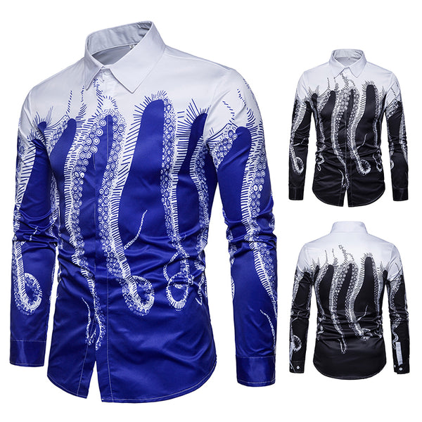 Pizoff Mens Hipster Hip Hop Luxury Print Long Sleeve Shirt BA0080