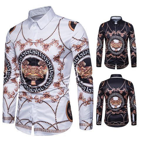 Pizoff Mens Hipster Hip Hop Luxury Print Long Sleeve Shirt BA0081