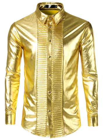 Pizoff Men's Bronzing Metal Slim Long Sleeves Button Down Dress Shirt BA125