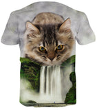 Pizoff Unisex 3D Digital Cat Printing T Shirts C7058-01