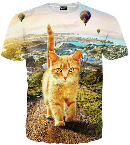 Pizoff Unisex 3D Digital Cat Printing T Shirts C7058-09