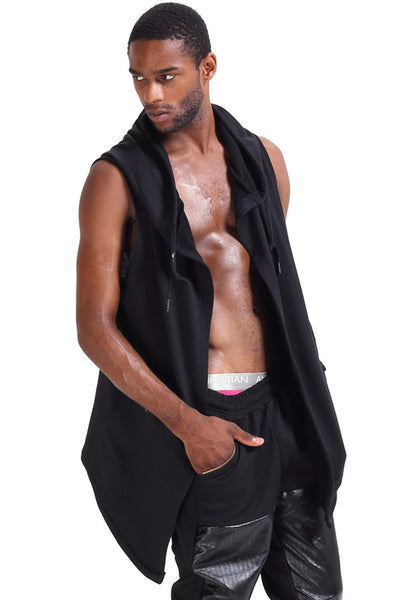 Men's Long Line Sleeveless Hoodies P3264