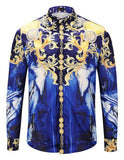 Pizoff Mens Long Sleeve Luxury Print Dress Shirt Y1792-83