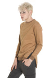 Y1561 Unisex Hip Hop Urban Hipster Drop Shoulder Longline Split Hem Fleece Linen Sweatshirt