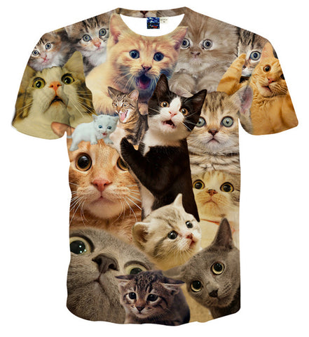 Pizoff Unisex 3D Digital Cat Printing T Shirts Y1625-13