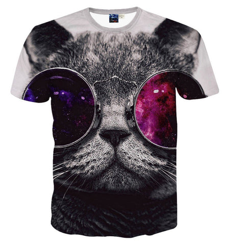 Pizoff Unisex 3D Digital Cat Printing T Shirts Y1625-30