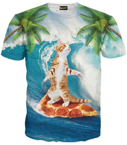 Pizoff Unisex 3D Digital Cat Printing T Shirts Y1625-89