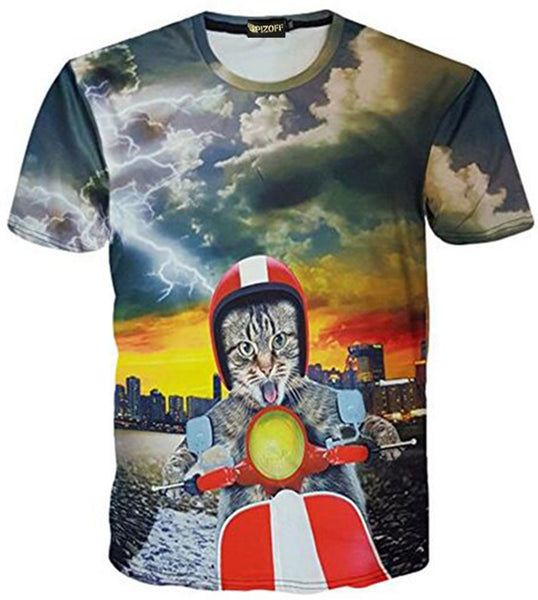 Pizoff Unisex 3D Digital Cat Printing T Shirts Y1625-90