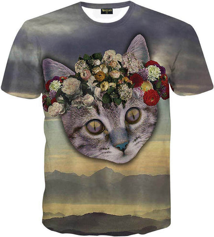 Pizoff Unisex 3D Digital Cat Printing T Shirts Y1625-94
