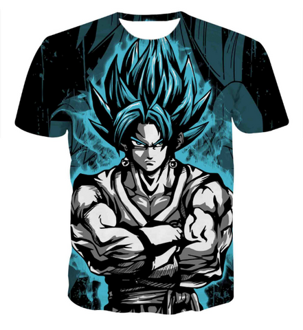 Pizoff Unisex 3D Dragon Ball Z Cartoon Print T-shirt Top Y1625-B2-