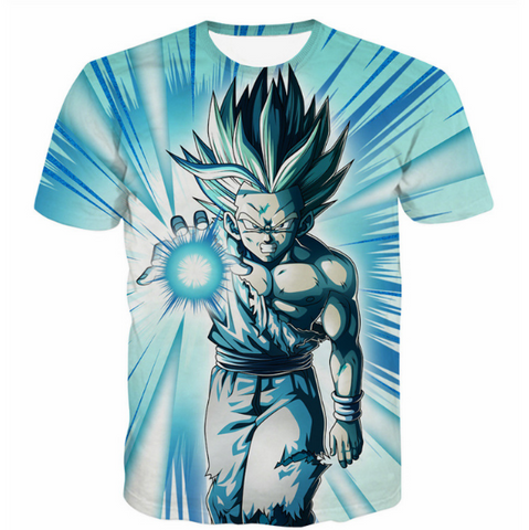 Pizoff Unisex 3D Dragon Ball Z Cartoon Print T-shirt Top Y1625-B9-