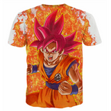 Pizoff Unisex 3D Dragon Ball Z Cartoon Print T-shirt Top Y1625-E7