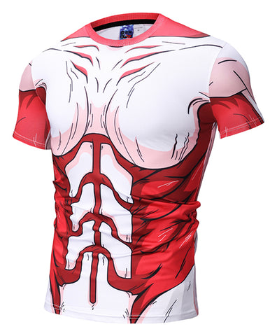 Pizoff Unisex Attack on Titan 3D Digital Printing T Shirts Y1625-N7