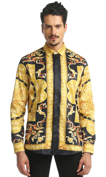 Pizoff Mens Long Sleeve Luxury Design Print Dress Shirt  Y1706-26