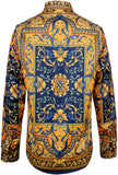 Pizoff Mens Long Sleeve Luxury Design Print Dress Shirt  Y1706-27