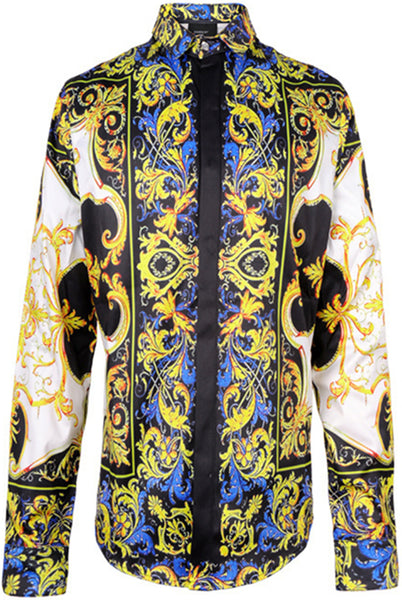 Pizoff Mens Long Sleeve Luxury Design Print Dress Shirt  Y1706-28