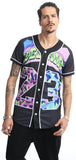 "PIZOFF Short Sleeve Arc Bottom 3D Colorful Number 23"" Print Baseball Jersey Shirt Y1724-19"