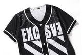 "PIZOFF Short Sleeve Baseball Team Jersey Black-White Strips 23"" Basketball Shirt Y1724-51"