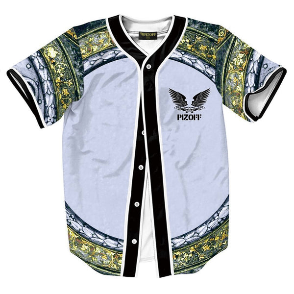Pizoff Unisex Arc Bottom 3D Print Baseball Team Jersey Shirt Y1724-76