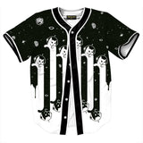 Pizoff Unisex Arc Bottom 3D Cats Print Baseball Team Jersey Shirt Y1724-86