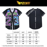 Pizoff Unisex Arc Bottom 3D Print Baseball Team Jersey Shirt Y1724-84