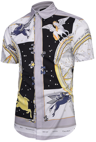 Pizoff Men's Short Sleeve Luxury Print Dress Shirt Y1782-01